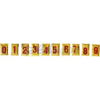 Woreczki z grochem cyfry: żółte (0 - 9)
