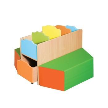 Biblioteczka Trapez z pufkami i pojemnikami