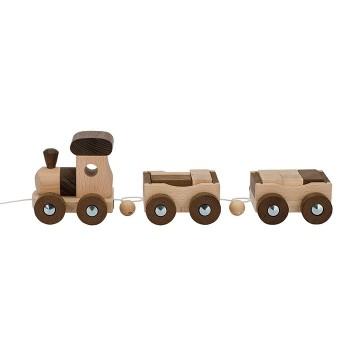 Drewniany pociąg z klockami