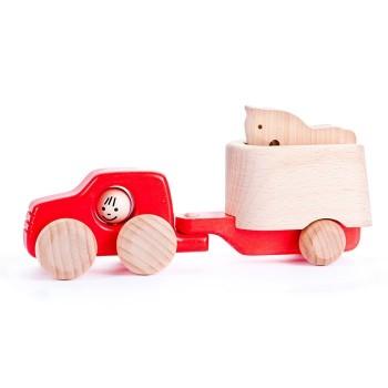 Auto terenowe z koniem - czerwone