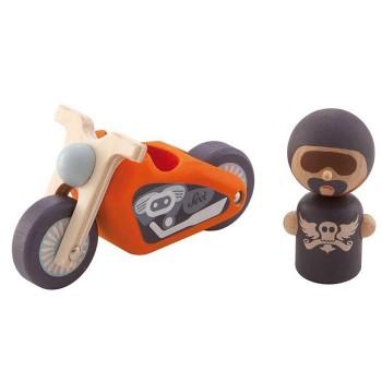 Drewniany motocykl z kierowcą