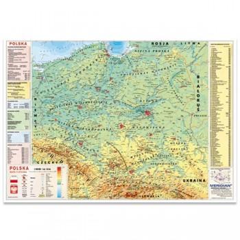 Ścienna mapa Polski fizyczna z elem. ekologii 160x120cm