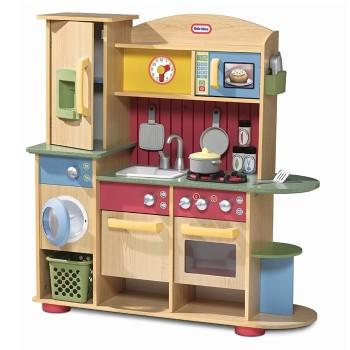Drewniana kuchnia z pralką