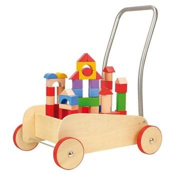 Wózek z klockami budowlanymi