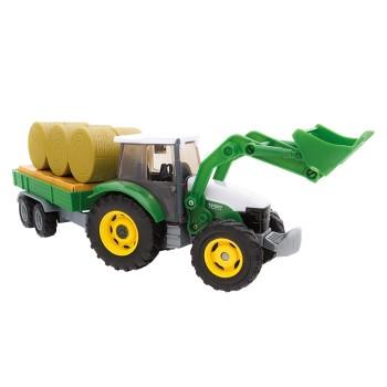 Traktor z koparką i naczepą