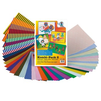 Kombi paczka kolorowych papierów z wzorami