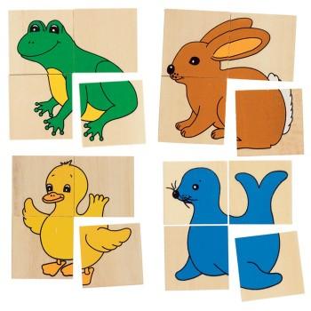 Puzzle zwierzaki I - 4 wzory