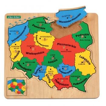 Drewniane Puzzle Mapa Polski - województwa