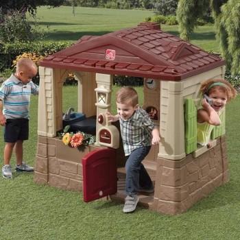 Domek z podłogą brązowy
