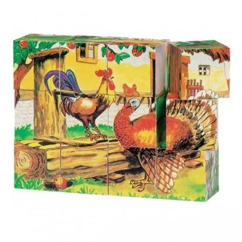 Klocki zwierzęta z farmy - 6 scenek