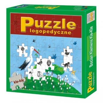 Puzzle edukacyjne - Bocian Klemens Kle-Kle - wyrazy dźwiękonaśladowcze - głoski: j, ł, ch, n, m