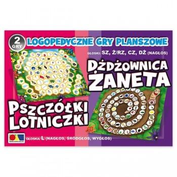 Logopedyczne gry planszowe 2 - 4 graczy - Pszczółki Lotniczki - L  Dżdżownica Żaneta sz, ż/rz,  cz, dż