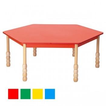 Stoły kolorowe - sześciokątny - nogi puca