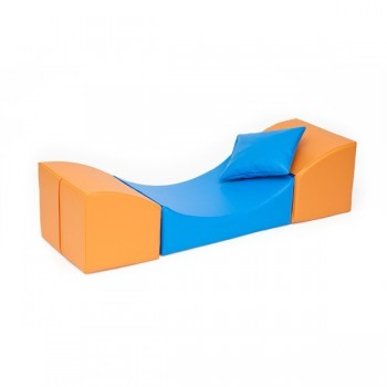 Sofka Komfort - pomarańczowo - niebieska