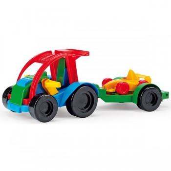 Auto z przyczepą i autkiem kid cars