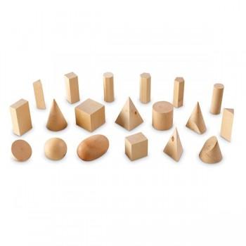 Drewniane geometryczne kształty - 19 elem.