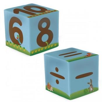 Kostki z cyframi i znakami matematycznymi