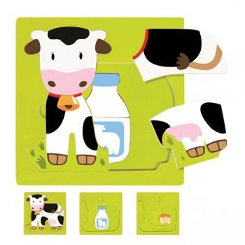 Puzzle 3 warstwowe - Krowa