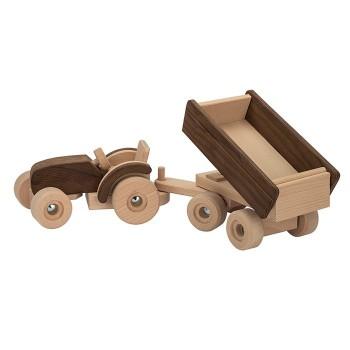 Drewniany traktor z naczepą