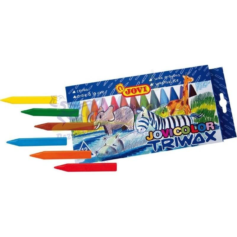 Kredki świecowe trójkątne 12 kolorów Jovi