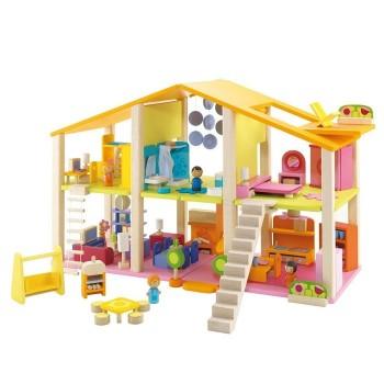 Duży domek dla lalek z wyposażeniem, 78 el.