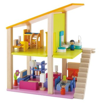 Mały domek dla lalek z wyposażeniem, 35 el., B