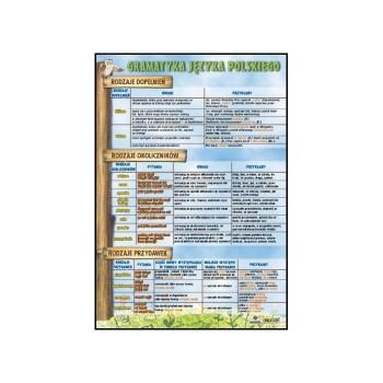 Plansze Gramatyka - Rodzaje dopełnień, rodzaje okoliczników, rodzaje przydawek   70x100cm