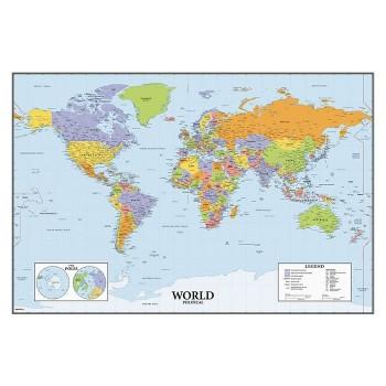 Mapa świata - tablica suchościeralna - Naklejka wielokrotnego użytku