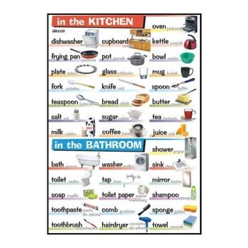 Plansze tematyczne - J. angielski - In the kitchen, in the bathroom