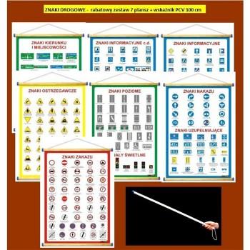 Znaki drogowe - zestaw 7 plansz WDS