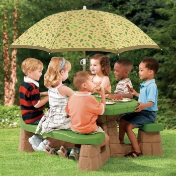 Stół piknikowy z parasolem zieleń