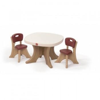 Stolik brązowy z krzesłami