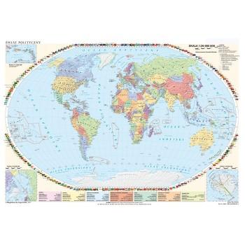 Mapa Świata fizyczna z elem. ekologii