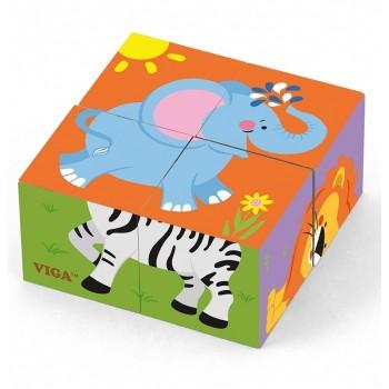 Drewniana układanka Zoo - 4 klocki