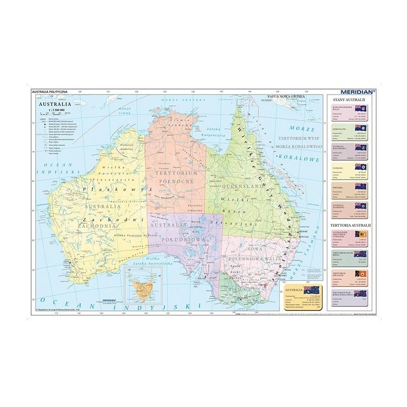 Australia - ścienna mapa fizyczna - 160 x 120 cm