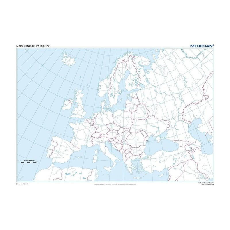 Mapa Fizyczna Konturowa Europy 1 3 300 000 Tylko Pomoce