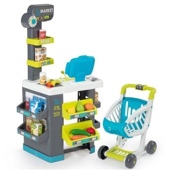 Supermarket z kasą i wózkiem