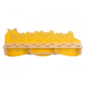Kubeczek i ząbki - żółta półka na kubeczki i ręczniki