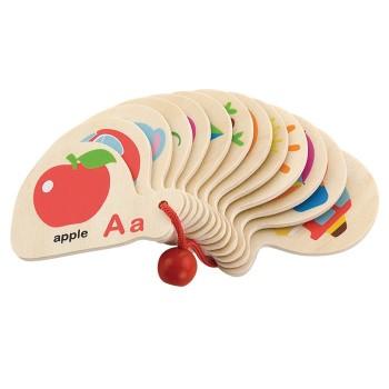 Drewniana książeczka do nauki alfabetu i angielskiego