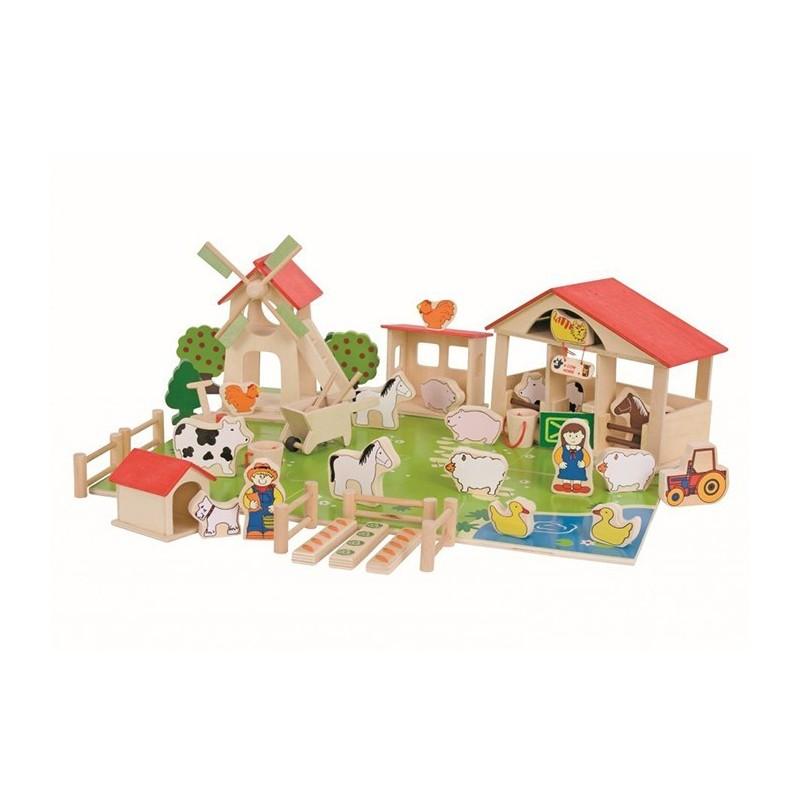 Drewniany zestaw do układani i zabawy - Farma