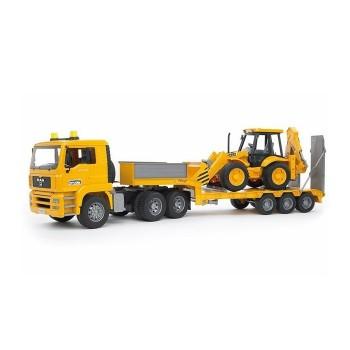 Ciężarówka, laweta z koparką
