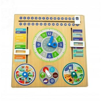 Drewniany kalendarz z zegarem