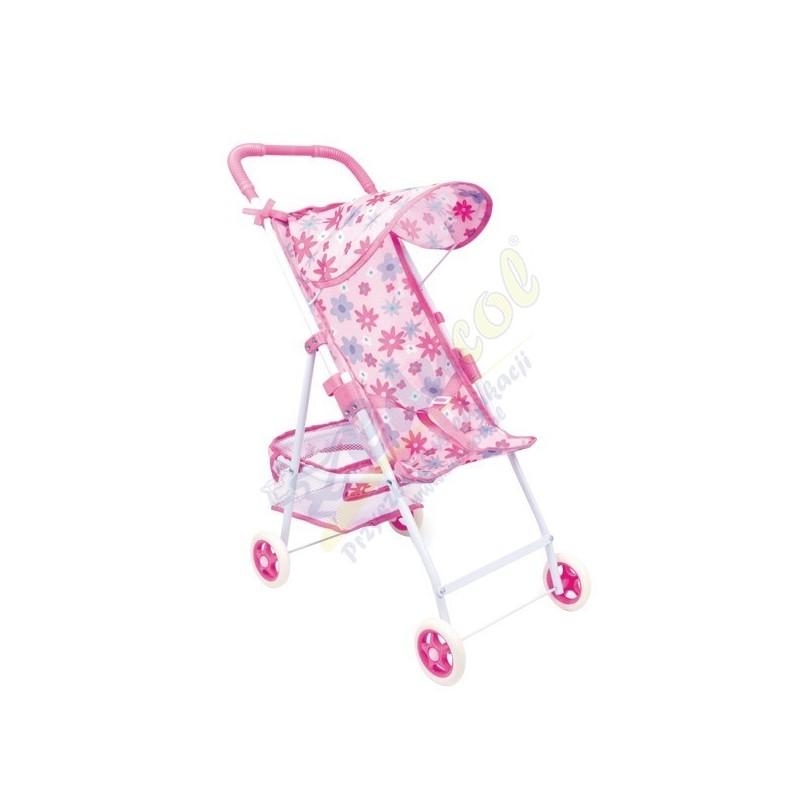 Wózek z daszkiem różowy