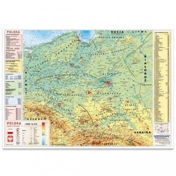Mapa Polski fizyczna z elem. ekologii