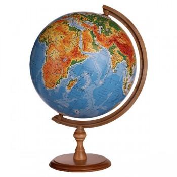 Globus śr.32 cm fizyczny podświetlany drewniany niski