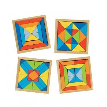 Zestaw - 4 drewniane mozaiki
