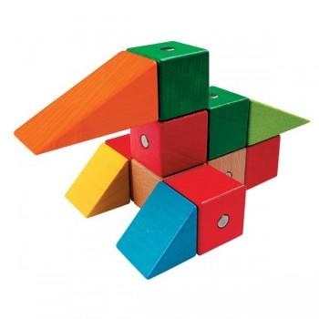 Magnetyczne klocki - drewniane - 68 elem.