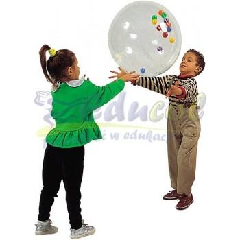 Piłka gimnastyczna z piłeczkami TRANSPARENTNA